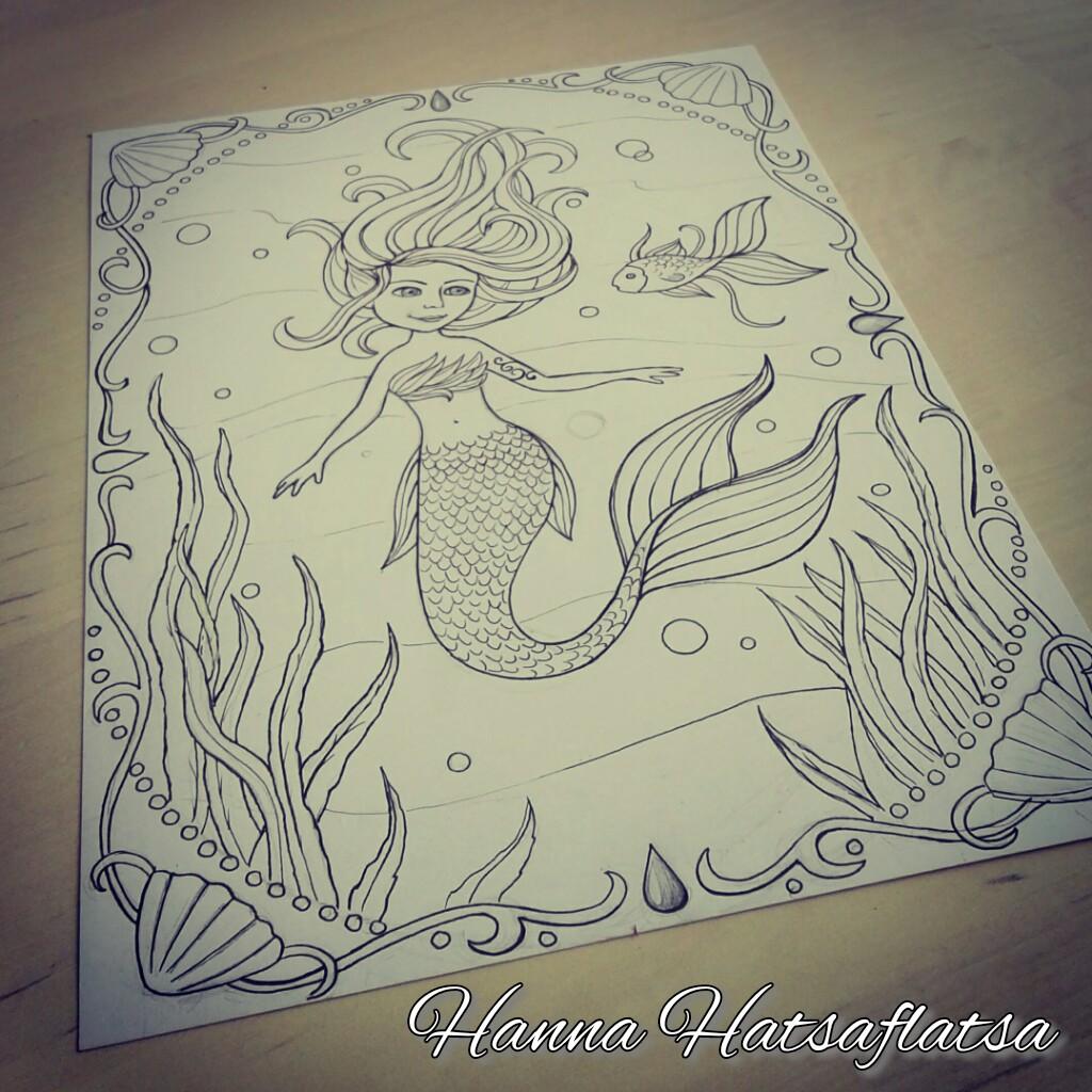 zeemeermin kleurplaat hatsaflatsa illustraties