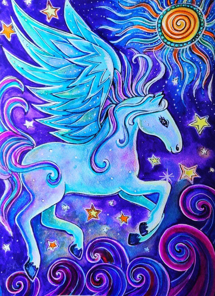 De creatiekracht van Pegasus kleurplaat.